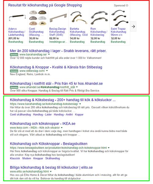 sökresultat för sökmotoroptimering av e-handel